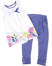 Deux par Deux Girls' Top and Striped Jersey Pants Set Hum Sweet Hum, Sizes 18M-6