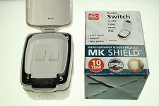 Outdoor or Indoor MK SHIELD Double Switch Waterproof IP5610A 2 Way White