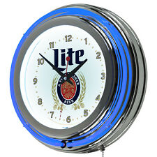 Miller Lite Chrome Neon Retro Style Wall Clock Bar Gameroom Beer Collectable New