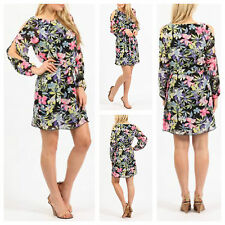 WOMENS LADIES FLORAL PRINT CUT OUT SLEEVE BELTED SHIRT DRESS LOOK TUNIC LONG TOP