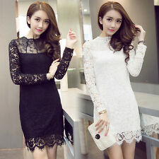 Spring Fall Elegant Womens Sweet Lace Floral Long Sleeve Slim Bodycon Wrap Dress