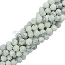 "6mm/8mm Craft Howlite Turquoise Smooth Gemstone Loose Beads 15"" Jewelry White"