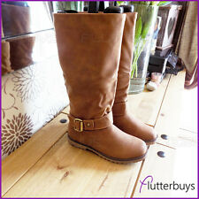 Womens Riding boots Nubuck look Camel Removable ankle Belt Ladies Sizes Comfy