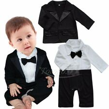 0-24M Baby Boys Gentleman Tuxedo Wedding Romper +Jacket 2pcs Formal Outfit Suit