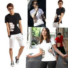 Fashion 3D Big Hand Printed Funny Catch You Short Sleeve Tee Mens Unisex T-shirt