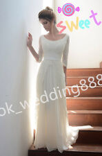 Simple Lace Half Sleeves Wedding Dress Bridal Gowns Prom party Dress Custom