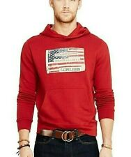 Denim & Supply Ralph Lauren Men American US Flag Patched Hoodie Sweat Red S M
