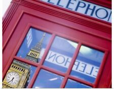Poster Print Wall Art entitled Telephone Booth Reflection of Big Ben London
