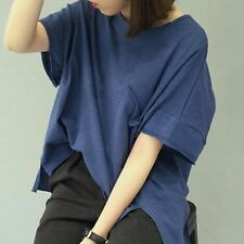 Korea Women Short Sleeve Oversized Soft Casual Loose Pocket Blouse Top T-shirt