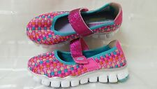 New!  Skechers 81220L Flex Athletic Kid's Woven Mary Jane  Pink 108U
