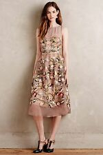 NEW Anthropologie Embroidered Novelette Dress by Moulinette Soeurs Size 4P