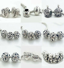 5PCS Silver Retro Spacer European Charm Beads Fit Necklace Bracelet