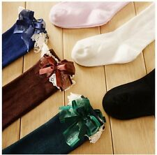 Lovely Kids Baby Girls Solid Color Knee High Length Cotton Lace Tight Socks Hot