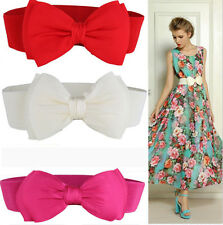 New Fashion Women Bowknot Elastic Bow Wide Stretch Buckle Waistband Waist Belt