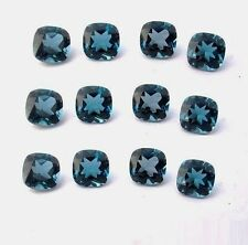 Natural London Blue Topaz Cushion Cut 4mm - 8mm Calibrated Size Loose Gemstone