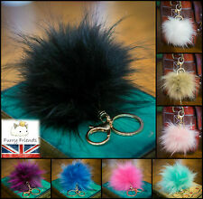 Keyring Pompom Key chain Ball Faux Fake Fur Vegan 12cm Monster Soft Fluffy Charm