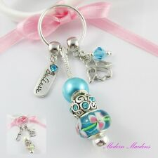 European Bead Believe in Angels Charm Keychain Key ring Select Colour