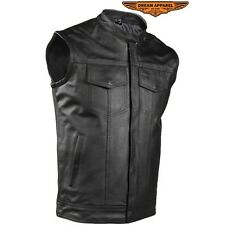 Men's Motorcycle Vest With Concealed Carry Made From Leather New