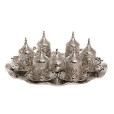 Ottoman Turkish Silver Brass Tea Coffee Saucers Cups Tray Set - HIGHEST QUALITY