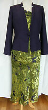 JACQUES VERT AMETHYST PERIDOT RANGE GREEN SILK DEVORE SKIRT TOP AMETHYST  JACKET