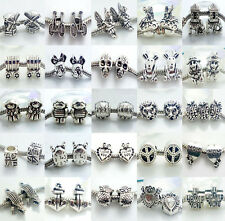 10pcs Retro Silver Spacer Beads Fit European Charm Bracelet