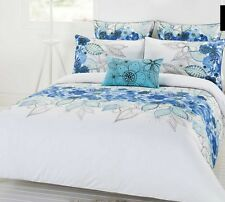Naya Blue White 3 or 5 Pce King Size Quilt / Doona Cover Set Cotton Floral New