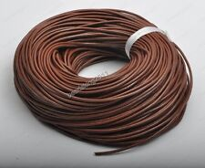 2yards Genuine brown round Leather cord Cowhide 1MM 1.5MM 2MM 3MM 4MM 5MM