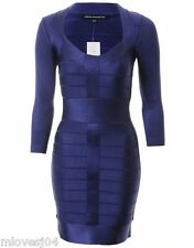 French Connection Ribbon Knit Fitted Bodycon Dress 3/4 Maya Blue New BNWT UK 6
