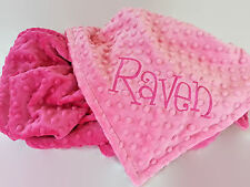 Handmade, Personalized Minky Baby Blanket - Hot Pink and Pink