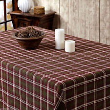 Jackson Rustic Country Warm Cotton Burlap Tablecloth Green & Burgundy Plaid
