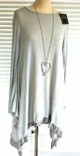 Uber soft cotton knit asymmetric tunic with pinstripe trim