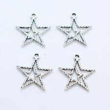 7/28/200pcs Tibetan Silver Hollow Double Star Charms Pendants 21x23mm