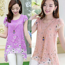 Fashionable Womens Girl Ladies Floral Print Long Top T-Shirt Top Chiffon Blouse