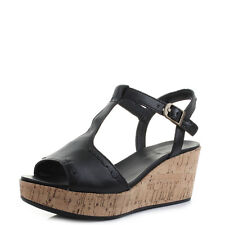 Womens Ladies Hush Puppies Blakely Durante Black Leather Wedge Sandals Shu Size