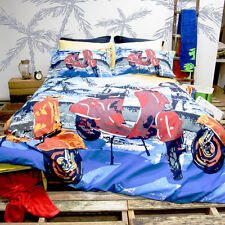 Retro Home Scooter Blue Doona Quilt Cover Set Single Double Queen King Size Bed
