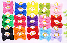 Pet Dog Hair Bows Pure Colors pairs Rubber Band Solid Bows Grooming bows Topknot