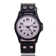 New Leather Date Digital Analog Sport Army Men's Quartz Wrist Watches Black AI1G