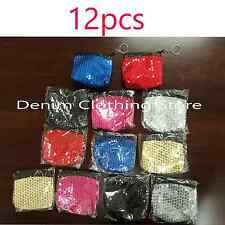 Wholesale 12 Sequin Coin Assorted Colors Change Purses Change Bag Purse Lots