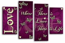 LARGE LOVE QUOTE CANVAS PICTURE PURPLE AND WHITE 4 PANEL SPLIT WALL ART MULTI