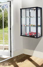 LOCKABLE DOUBLE WALLMOUNTED GLASS DISPLAY CABINETS WITH MIRROR AND LIGHT