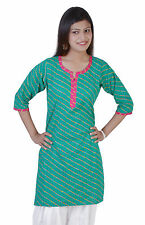 Women Indian Laheriya Cotton Kurti Patiala Salwar Kameez Top Tunic Casual IW1024