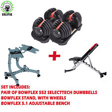 Complete set of Bowflex 552 Adjustable Dumbbell, Bench, Stand