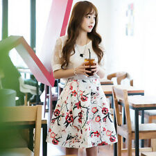 Korean Style Trendy Womens Summer Sweet Floral Short Sleeve Two-Piece Mini Dress