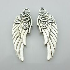 4/20/150pcs Tibetan Silver Angel Rose Flower Wings Charms Pendants 11.5x31mm