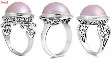 Sterling Silver 925 ROUND PINK BALI MABE PEARLS CABOCHON DESIGN RINGS SIZES 5-11
