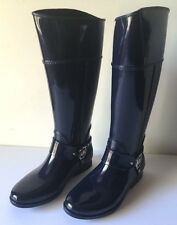 Michael Kors Tall Rain Boots Fulton Harness Women Navy Rubber Size 7 8 9 NWOB