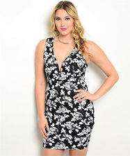 Plus Size Floral Bodycon Dress Sexy Cocktail Party Club Summer 1X 2X 3X 14 16 18