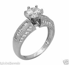 3.00 Ct 14K White Gold Cathedral Round Engagement Wedding Propose Promise Ring