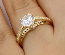 1.50 Ct 14K Yellow Gold Cathedral Round Engagement Wedding Propose Promise Ring
