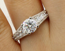 2.50 Ct 14K White Gold Round Pave Side Stones Engagement Bridal Promise Ring